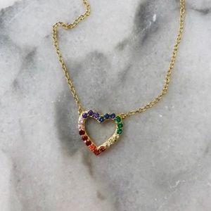 18k Sterling Silver Rainbow CZ Heart Necklace,NWT